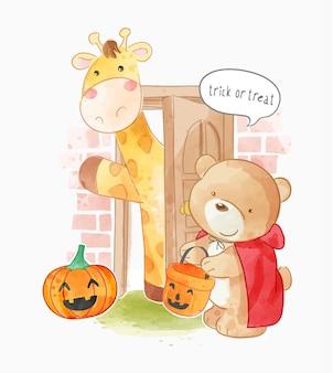 Dolcetto o scherzetto animali sul gradino della porta nell'illustrazione del costume di halloween