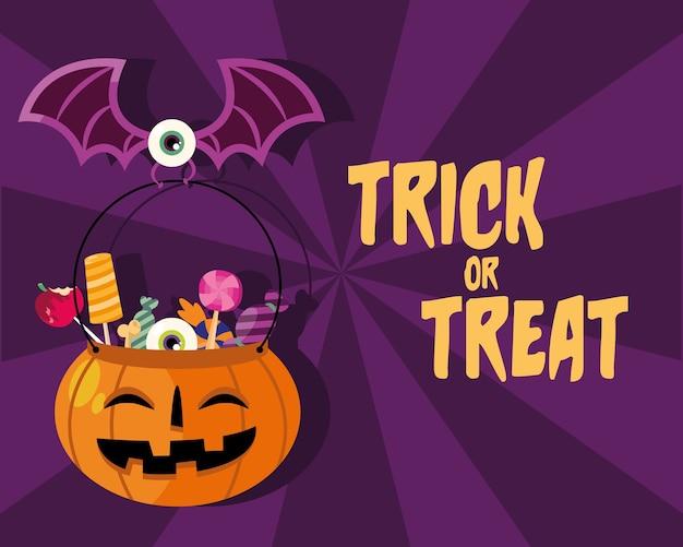 Dolcetto o scherzetto caramelle all'interno della zucca con design a pipistrello, tema spaventoso di halloween