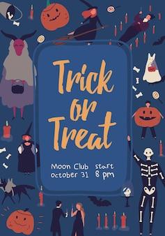 Dolcetto o scherzetto, modello di poster festa in maschera di halloween. design di carta invito club luna