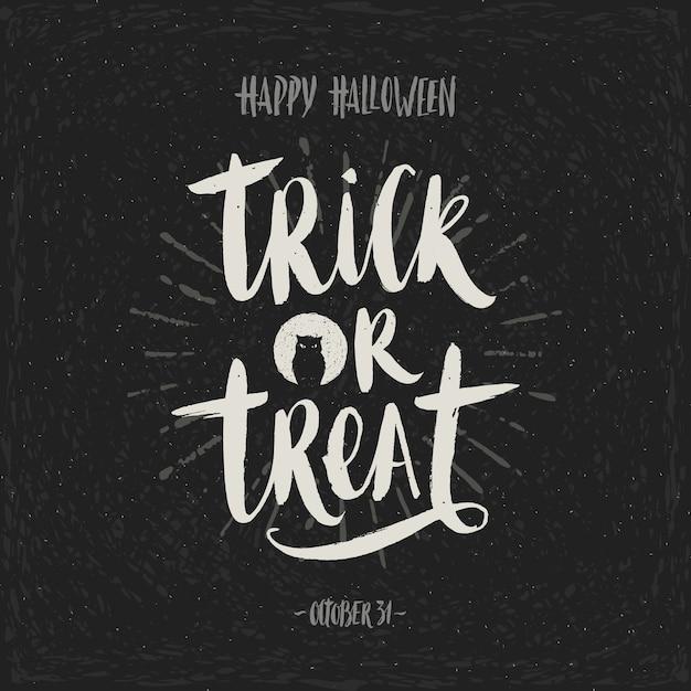 Dolcetto o scherzetto - calligrafia disegnata a mano. illustrazione di halloween. poster di vacanza, invito o biglietto di auguri.