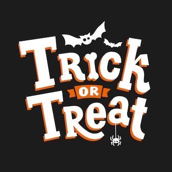 Dolcetto o scherzetto. iscrizione, pipistrello e ragno disegnati a mano di halloween felice