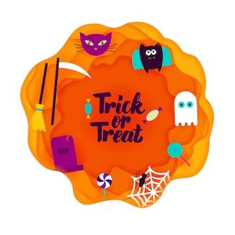 Taglio di carta dolcetto o scherzetto. illustrazione di vettore. felice halloween.