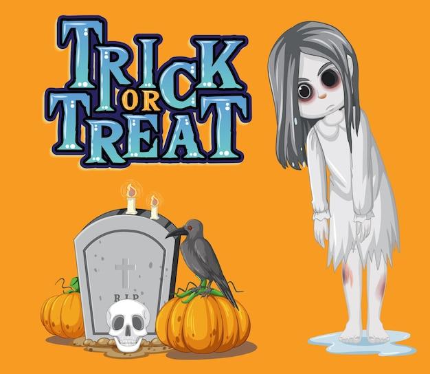 Logo di testo dolcetto o scherzetto con ragazza fantasma e lapide