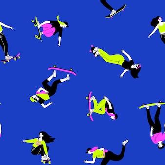 Trucchi su sfondo di skateboard. ragazze del fumetto che saltano e si allenano su longboard, concetto di sport estremo di strada vettore modello senza cuciture di attività all'aperto