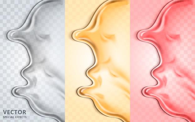 Elementi fluidi tricolori, possono essere utilizzati come effetti speciali, illustrazione 3d Vettore Premium