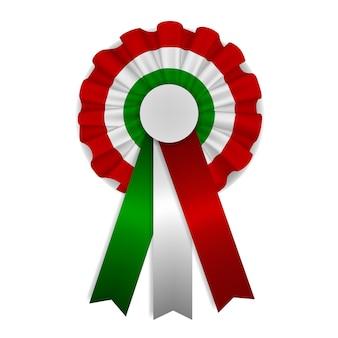 Coccarda tricolore verde, bianca e rossa con nastri