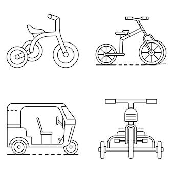 Set di icone triciclo. insieme del profilo delle icone di vettore del triciclo
