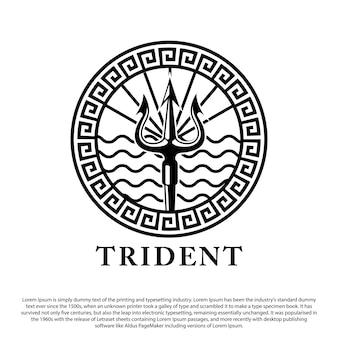 Design del logo del tridente arma poseidone con sfondo a onde per il logo dell'emblema del timbro e altri