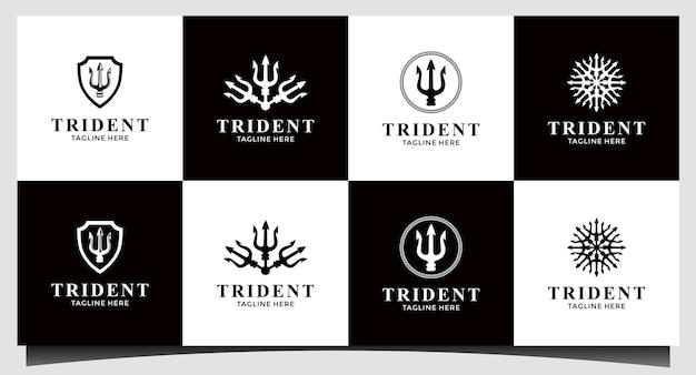Tridente nettuno dio poseidone tritone re lancia logo design