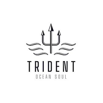 Simbolo del logo del modello del tridente dell'anima dell'oceano. emblema di identità del marchio aziendale premium. segno astratto della lancia biforcuta illustrazione vettoriale