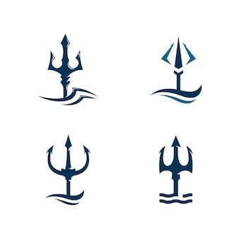Simbolo del segno dell'illustrazione dell'icona del logo di vettore del tridente