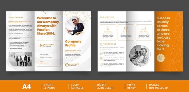 Layout brochure a tre ante con collegamenti astratti