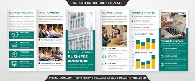 Modello di brochure a tre ante con layout pulito e uso in stile minimalista per la promozione aziendale