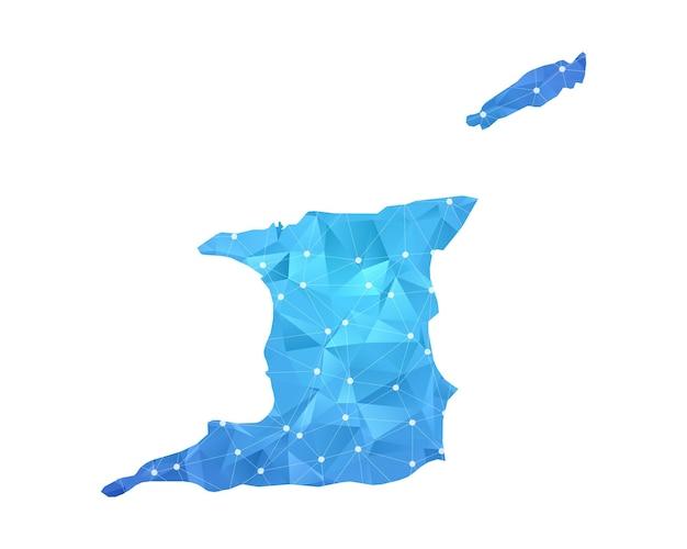Trinidad e tobago linea mappa punti geometrici astratti poligonali.