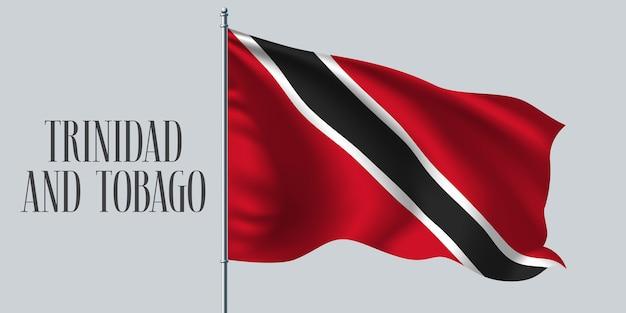 Trinidad e tobago sventolando bandiera sul pennone.