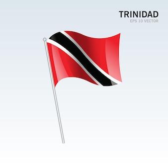 Trinidad sventolando bandiera isolata su gray