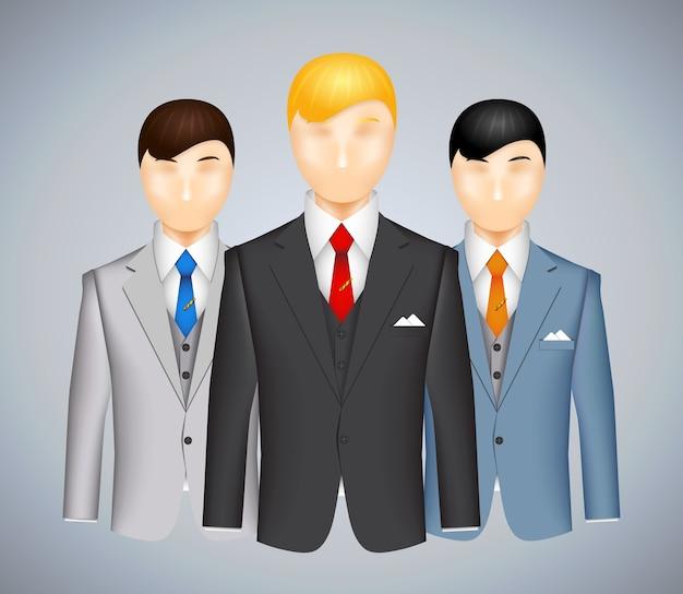 Trio di uomini d'affari in giacca e cravatta, ognuno con un vestito di colore diverso con un uomo dai capelli biondi in primo piano