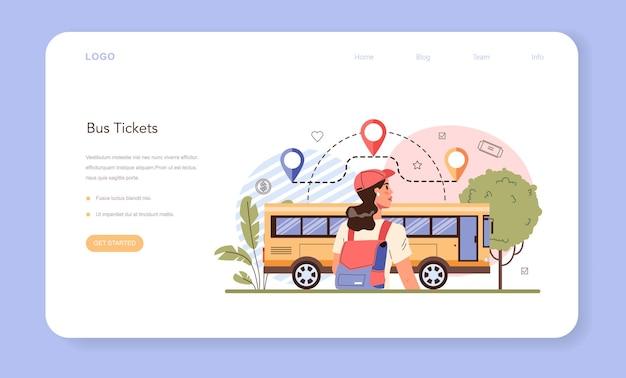 Banner web di prenotazione viaggi o pagina di destinazione. comprare un biglietto per un autobus.