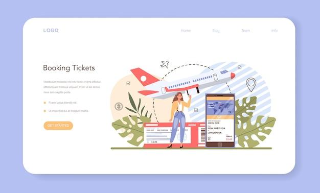 Banner web di prenotazione viaggi o pagina di destinazione. comprare un biglietto per un aereo.