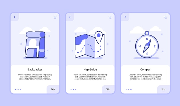 Schermata di onboarding di viaggio moderna interfaccia utente ux ui modello per app mobili smartphone bussola guida mappa zaino in spalla con stile piatto.