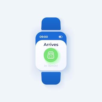 Modello di vettore di interfaccia smartwatch promemoria di viaggio. progettazione della modalità giorno di notifica dell'app mobile per il trasporto ferroviario. schermata del messaggio di arrivo del treno. interfaccia utente piatta per l'applicazione. display dell'orologio intelligente