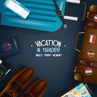 Viaggio nel mondo. viaggiare per il mondo. vacanza. viaggio su strada. turismo. apra la valigia con punti di riferimento. viaggio. illustrazione itinerante