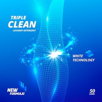 Triplo pulito. modello di progettazione del pacchetto per detersivo per bucato.