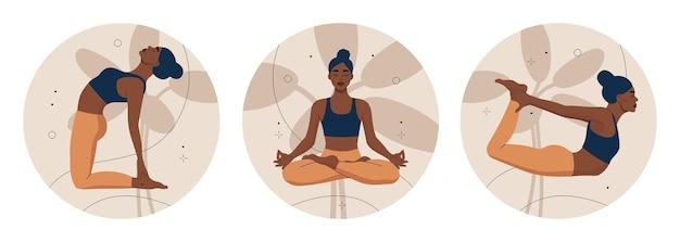 Trittico di donne che fanno esercizio di yoga e meditando in forma rotonda.