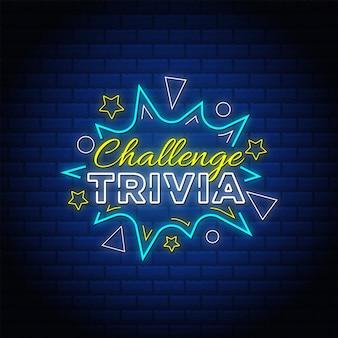 Trivia sfida insegne al neon stile di testo.