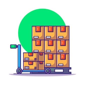 Illustrazione del fumetto del carrello e della scatola di pallet