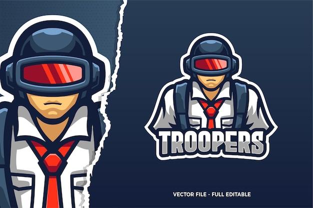 Il modello di logo del gioco trooper e-sport