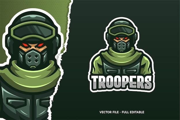 Modello di logo del gioco e-sport della polizia di trooper