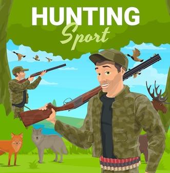 Trofeo di caccia agli animali che tiene doppio fucile
