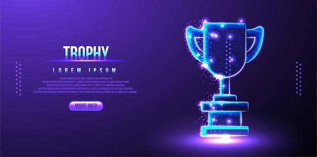 Premio del trofeo, rete wireframe astratta low poly dei campioni