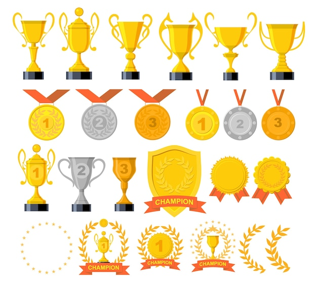 Set di icone di trofei e premi. ricompensa d'oro e trofeo d'oro per il campionato.