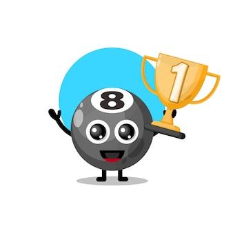 Trofeo palla da biliardo simpatico personaggio mascotte