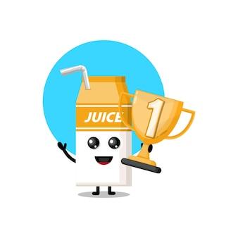 Succo di scatola dei trofei simpatico personaggio mascotte