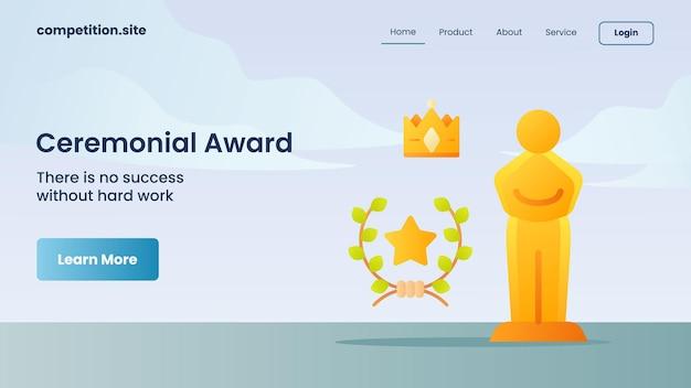 Trofeo per il premio cerimoniale con slogan non c'è successo senza duro lavoro per la homepage di atterraggio del modello di sito web illustrazione vettoriale