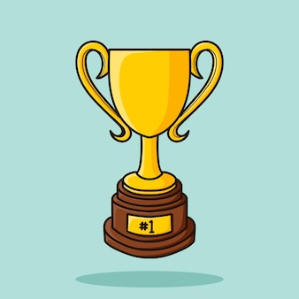 Vettore dell'icona del fumetto della tazza del trofeo dell'oro