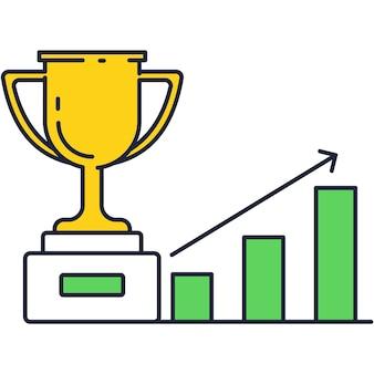 Icona della scala del grafico a tazza e grafico del trofeo