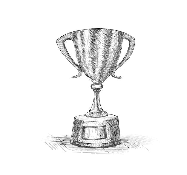 Schizzo di coppa trofeo isolato su sfondo bianco
