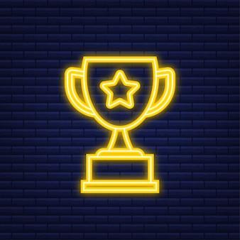 Icona piana di vettore della tazza del trofeo con la corona dell'alloro e della stella. icona al neon. illustrazione vettoriale.