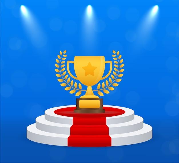 Icona piana di vettore della tazza del trofeo con la corona della stella e dell'alloro.