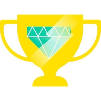 Premio per lo sport del vincitore dell'icona del vettore della coppa del trofeo