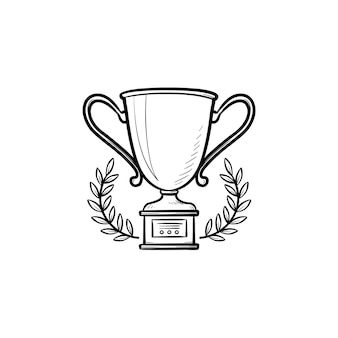 Coppa del trofeo con icona di doodle di contorni disegnati a mano corona di alloro. vincitore del concorso, concetto di ricompensa per il primo posto