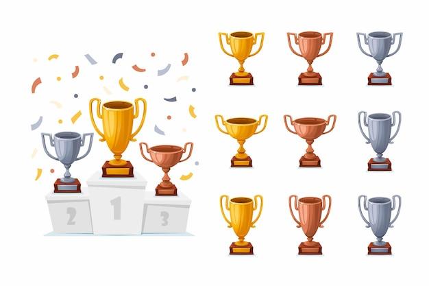 Coppe trofeo su un podio con coriandoli
