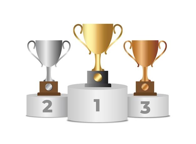 Trophy cups sul podio del vincitore. coppe in oro, argento e bronzo su piedistallo sportivo. competizione e raggiungimento degli obiettivi. concetto di affari di vettore