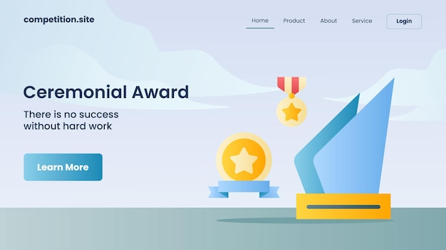 Trofeo, medaglia per il premio cerimoniale con slogan non c'è successo senza un duro lavoro per l'illustrazione vettoriale della homepage di atterraggio del modello di sito web