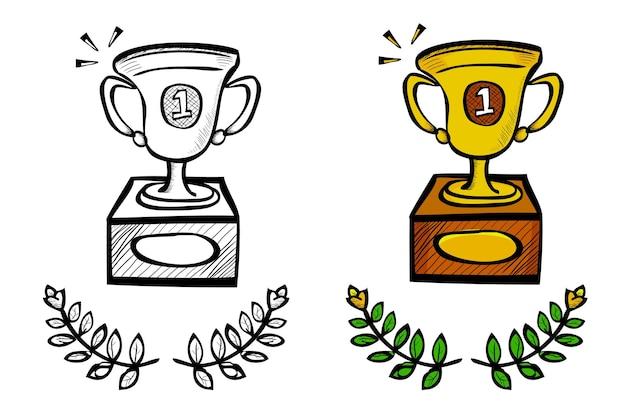 Trofeo, schizzo di tiraggio della mano di doodle di vettore semplice, isolato su white