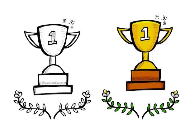 Trofeo, schizzo di tiraggio della mano di doodle di vettore semplice